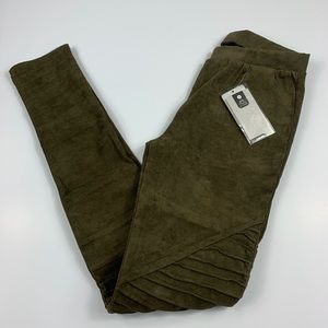 {AC for AG} Olive Green Faux Suede Moto Leggings